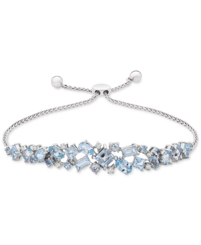 Macy's Aquamarine (3-5/8 ct. t.w.) & Diamond (1/10 ct. t.w.) Bolo Bracelet in Sterling Silver & Reviews - Bracelets - Jewelry & Watches - Macy's