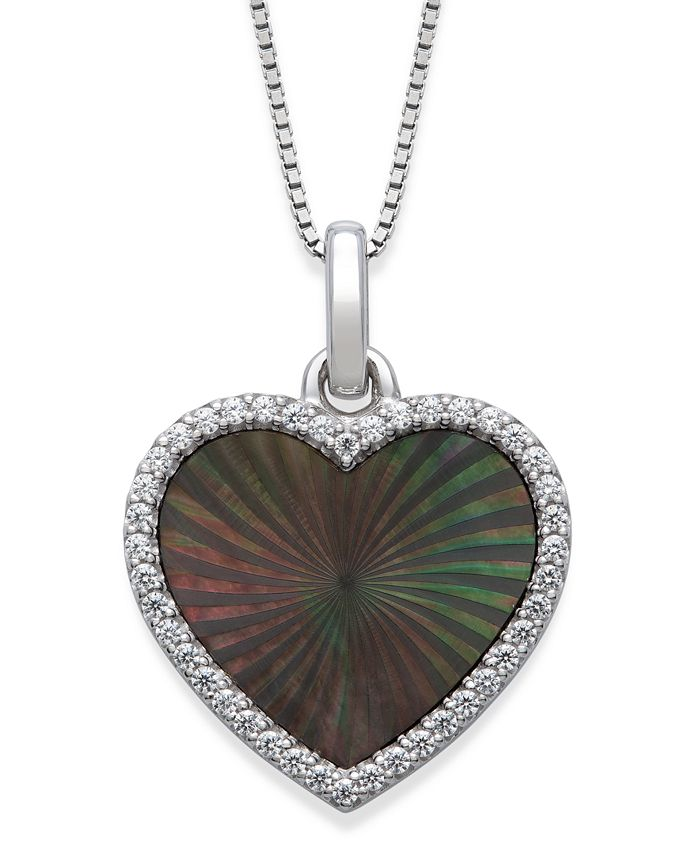"Macy's - Black Mother of Pearl 14x13mm and Cubic Zirconia Heart Shaped Pendant with 18"" Chain in Sterling Silver"