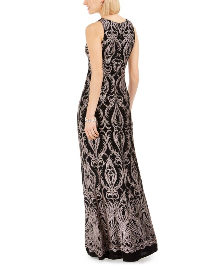 R & M Richards Glitter Illusion-Neck Gown  & Reviews - Dresses - Women - Macy's