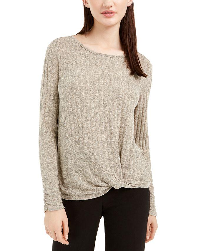 BCX - Juniors' Twist-Front Tie-Back Sweater