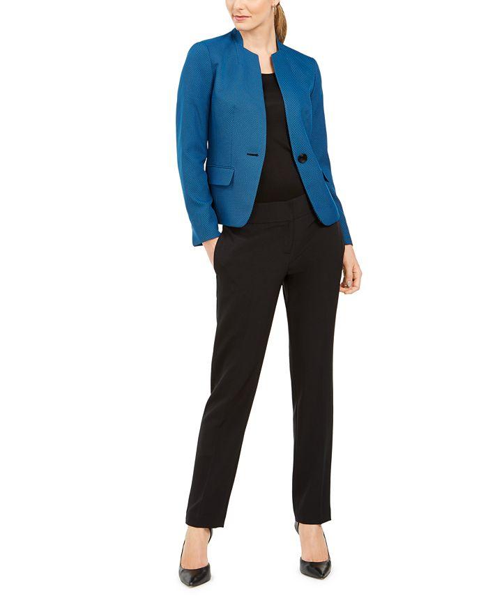 Le Suit - One-Button Contrast-Color Pantsuit