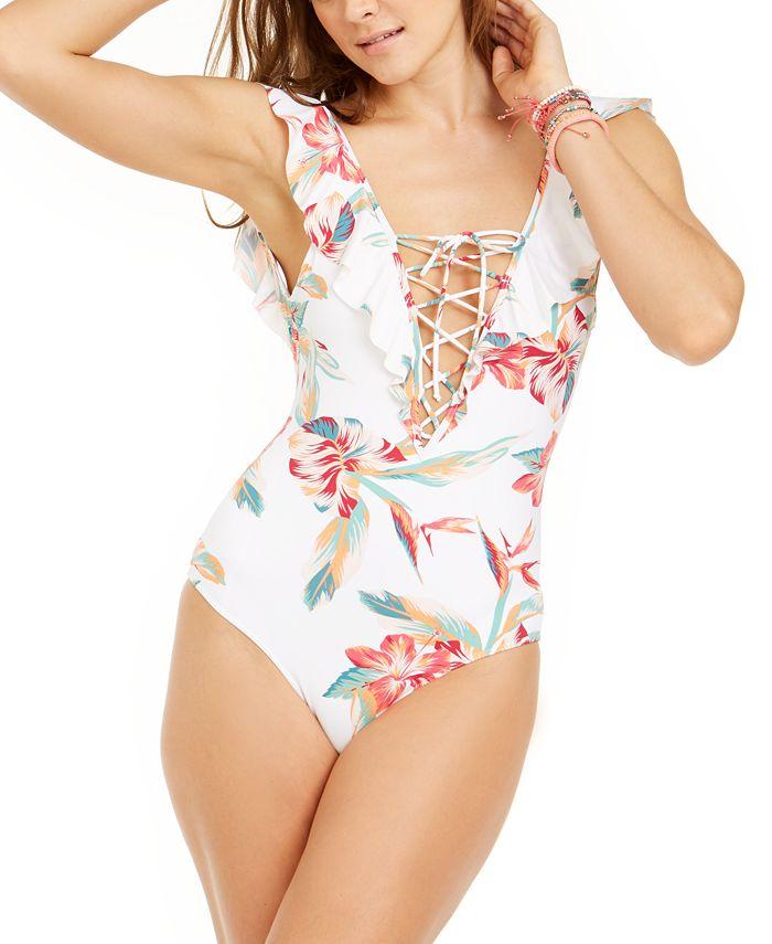 Roxy - Juniors' Lahaina Bay Printed Ruffled One-Piece Swimsuit