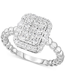 Forever Grown Diamonds Lab-Created Diamond Rectangle Cluster Halo Statement Ring (3/4 ct. t.w.) in Sterling Silver