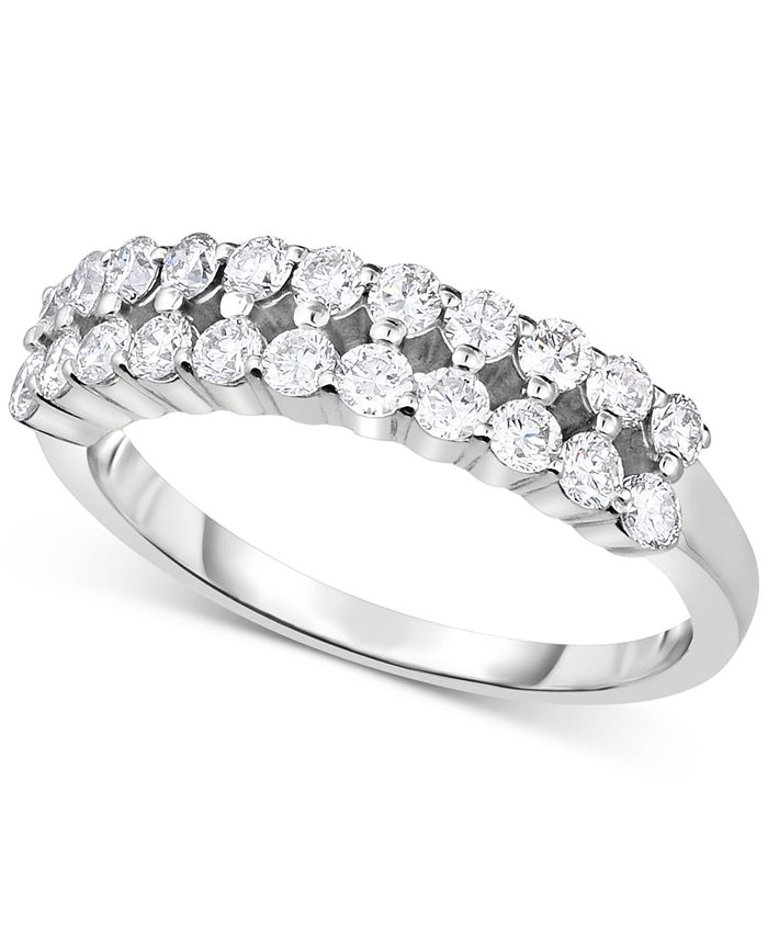 Forever Grown Diamonds - Lab-Created Diamond Two-Row Statement Ring (3/4 ct. t.w.) in Sterling Silver