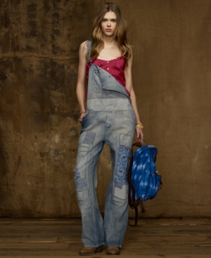 Denim & Supply Ralph Lauren Pants, Patched Denim Overalls