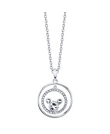 "Mickey Mouse Fine Plated Silver Crystal Pendant Necklace, 16"" + 2"" Extender for Unwritten"