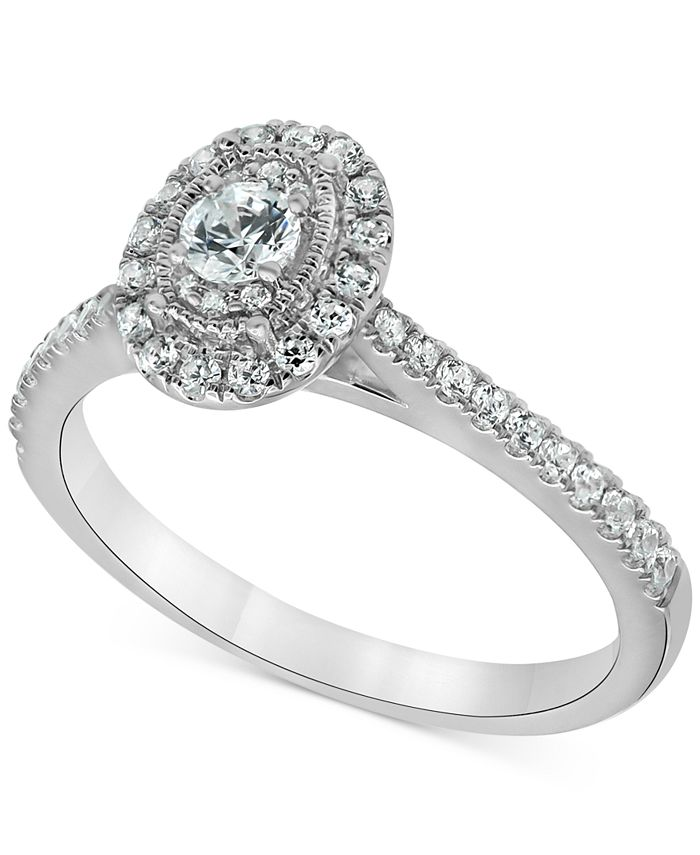 Macy's - Diamond Oval Halo Engagement Ring (1/2 ct. t.w.) in 14k White gold
