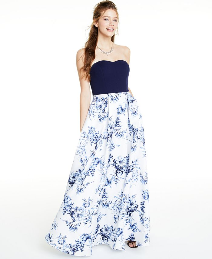 Speechless - Juniors' Floral-Print Gown