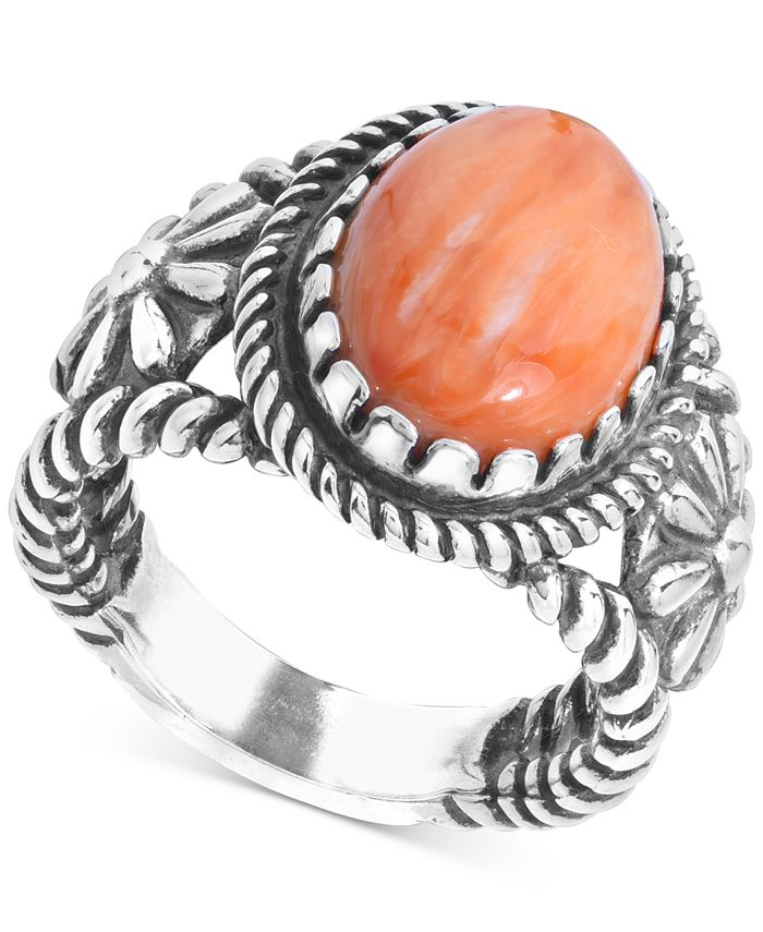 American West - Orange Spiny Oyster Flower Statement Ring in Sterling Silver