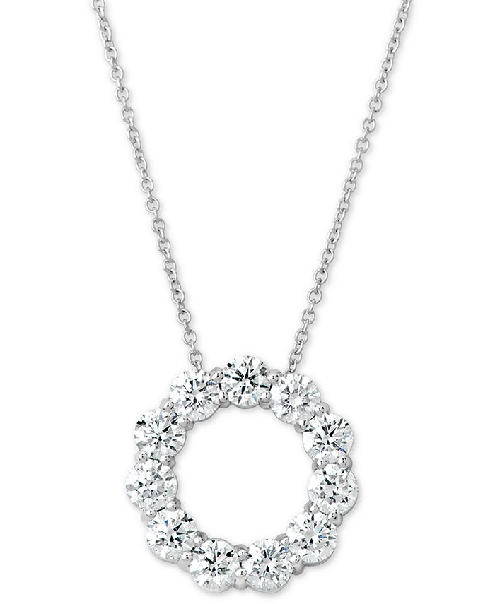 "Macy's - Certified Diamond Circle Pendant Necklace (2 ct. t.w.) in 14k White Gold, 16"" + 2"" extender"