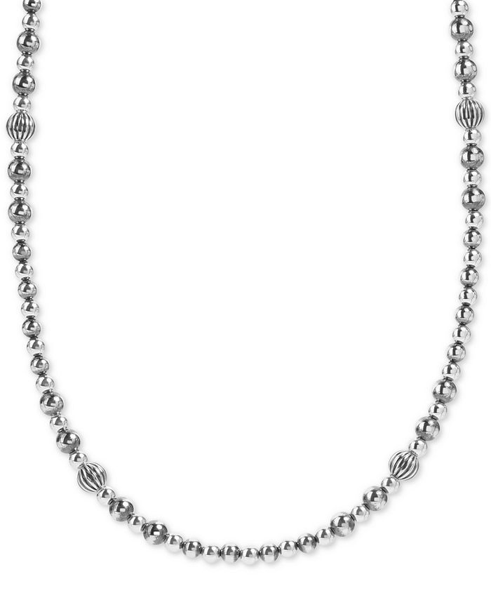 """American West - Beaded Statement Necklace in Sterling Silver, 18"""" + 3"""" extender"""