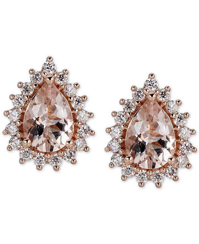 Macy's - Morganite (1-1/2 ct. t.w.) & Diamond (1/3 ct. t.w.) Stud Earrings in 14k Rose Gold