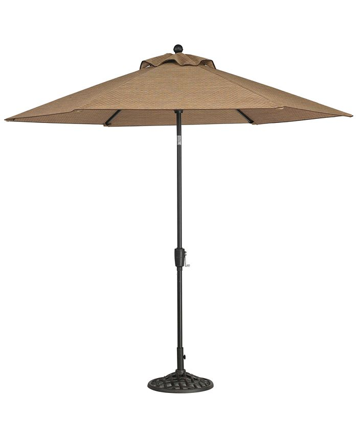 Furniture - Beachmont II Outdoor 9' Auto-Tilt Patio Umbrellla with Base