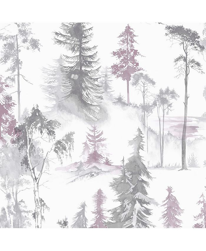 Graham & Brown - Mystical Forest Lilac Wallpaper