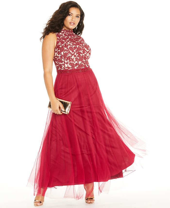 City Studios - Trendy Plus Size Rhinestone Embroidered Gown