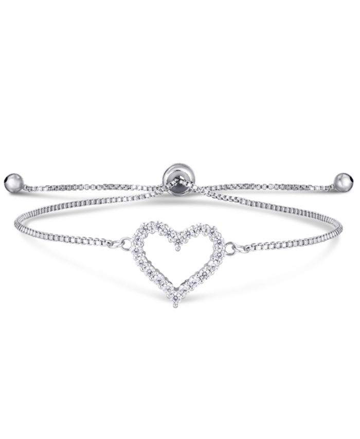 Macy's Cubic Zirconia Heart Adjustable Slider Bolo Bracelet in Fine Silver Plate & Reviews - Bracelets - Jewelry & Watches - Macy's