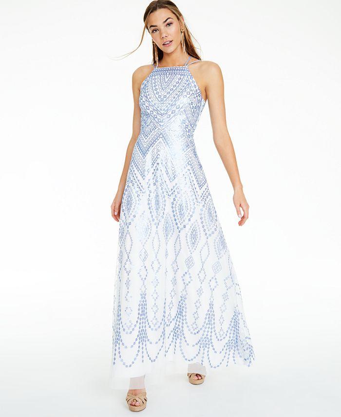 Trixxi - Juniors' Sequin Geo-Print Strappy-Back Gown