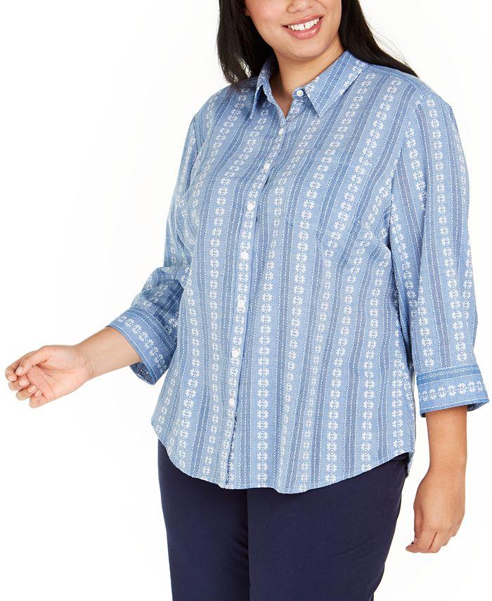 Karen Scott - Plus Size Floral-Embroidered Cotton Shirt