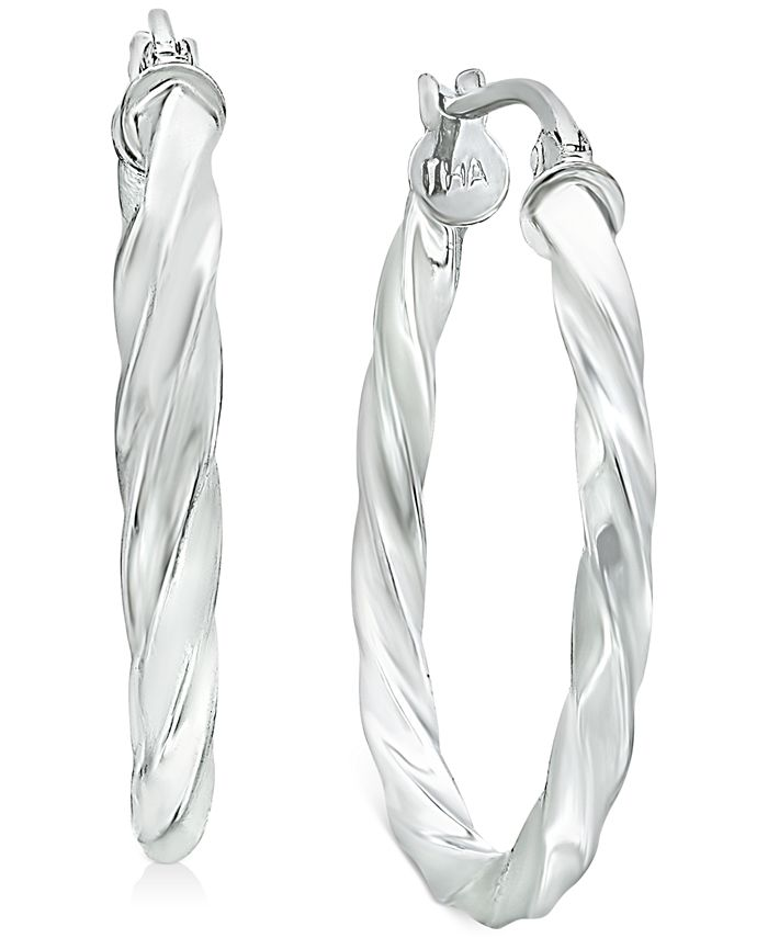 Giani Bernini - Small Twisted Hoop Earrings in Sterling Silver, 1""