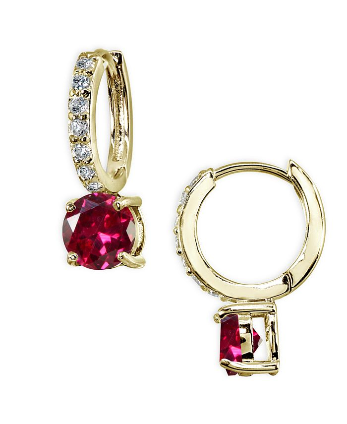 Giani Bernini - Colored Cubic Zirconia Huggie Hoop Earrings in 18k Gold Plated Sterling Silver