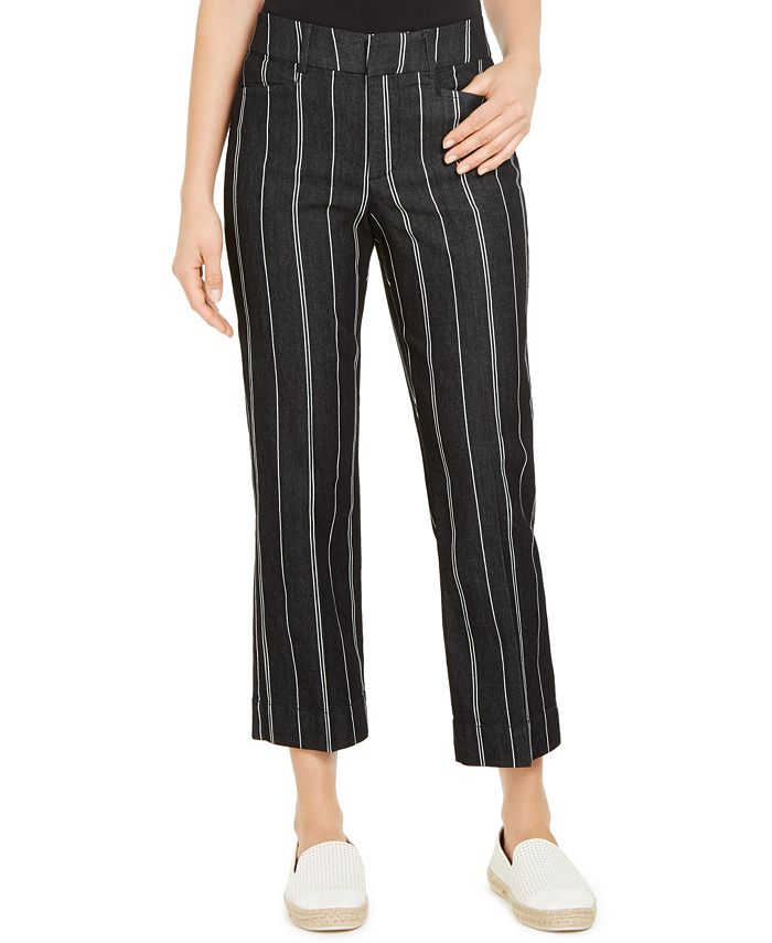 Charter Club - Striped Cropped Tummy Control Pants