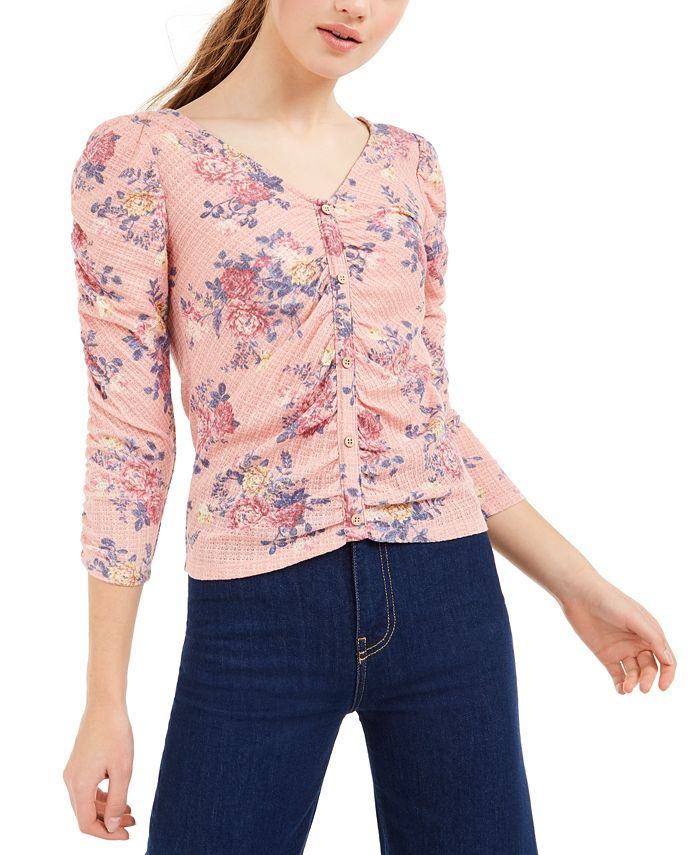Crave Fame - Juniors' Ruched Floral-Print Top