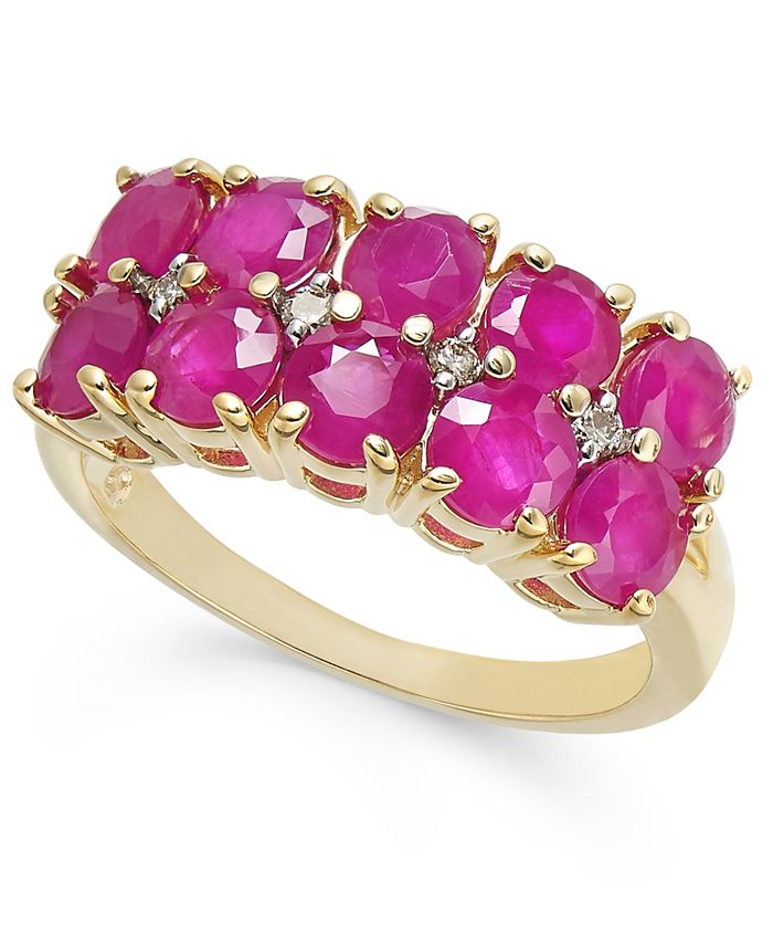 Macy's - Certified Ruby (3-1/3 ct. t.w.) & Diamond (1/20 ct. t.w.)Two-Row Statement Ring in 14k Gold