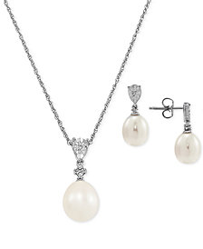 2-Pc. Set Cultured Freshwater Pearl (8 & 9mm) & Diamond (1/20 ct. t.w.) Pendant Necklace & Matching Drop Earrings in Sterling Silver