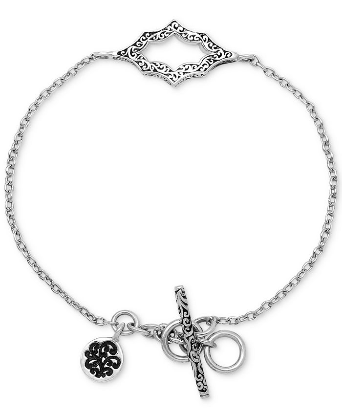 Lois Hill - Filigree Cut-Out Toggle Bracelet in Sterling Silver