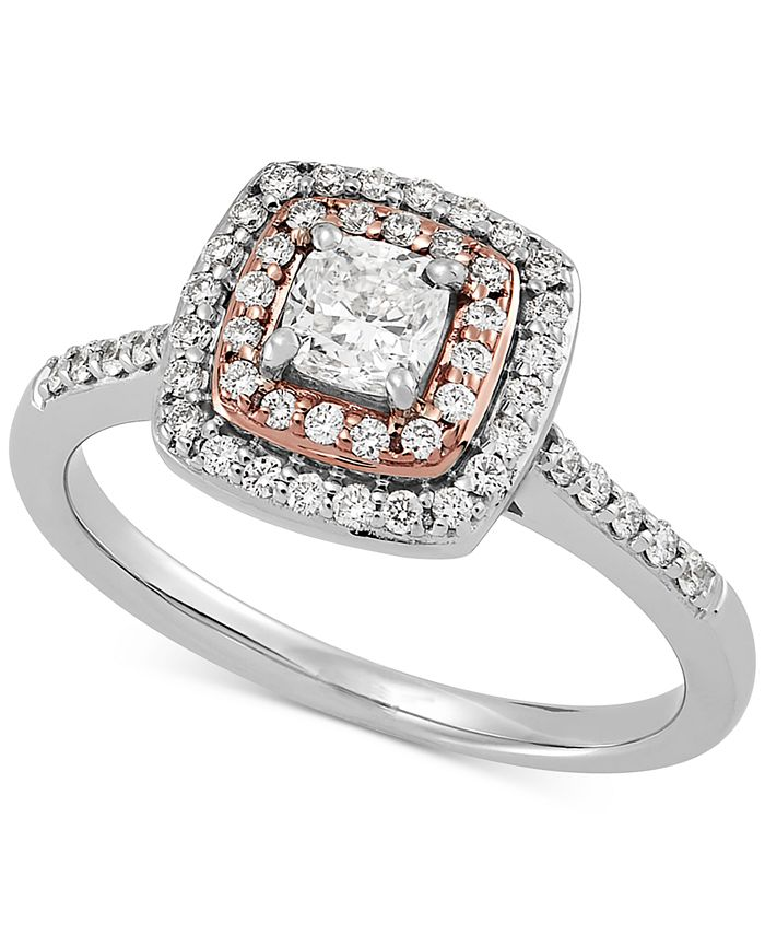Macy's - Diamond Cushion Double Halo Engagement Ring (3/4 ct. t.w.) in 14k White & Rose Gold