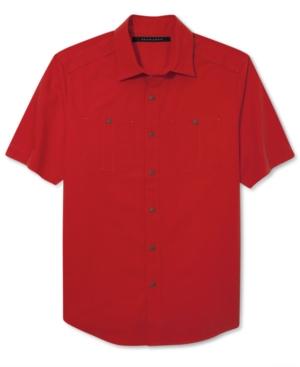 Sean John Shirt Double Pocket Dobby Short Sleeve Shirt