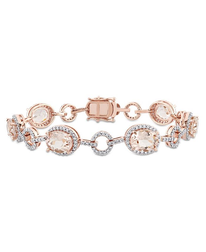 Macy's - Morganite (11 3/4 ct. t.w.) and Diamond (1 1/2 ct. t.w.) Link Bracelet in 14k Rose Gold