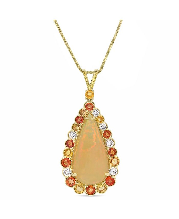 Macy's - Opal (17 2/5 ct. t.w.), Yellow and Orange Sapphire (4 ct. t.w.) and Diamond (7/8 ct. t.w.) Drop Necklace in 14k Yellow Gold