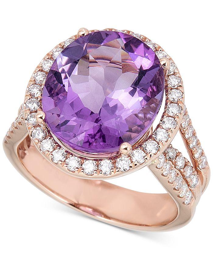 Macy's - Amethyst (9 ct. t.w.) & Diamond (7/8 ct. t.w.) Ring in 14k Rose Gold