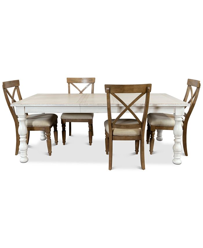 Furniture - Aberdeen Expandable Dining , 5-Pc. Set (Table & 4 Upholstered Side Chairs)