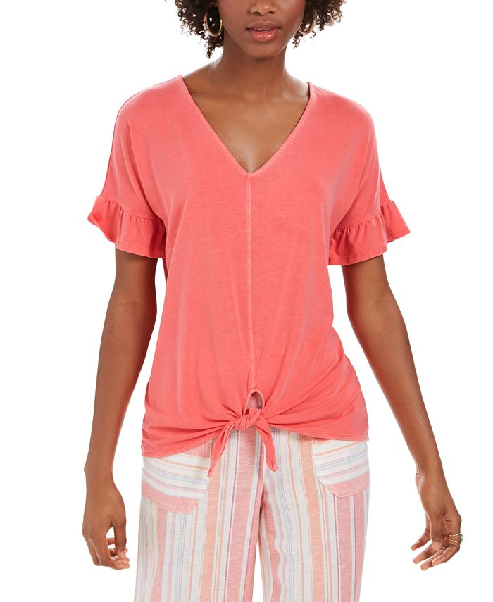 Style & Co - Flutter-Sleeve Tie-Front Top
