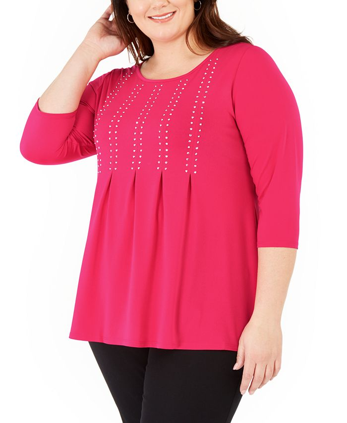 Belldini - Plus Size Studded Pleated 3/4-Sleeve Top