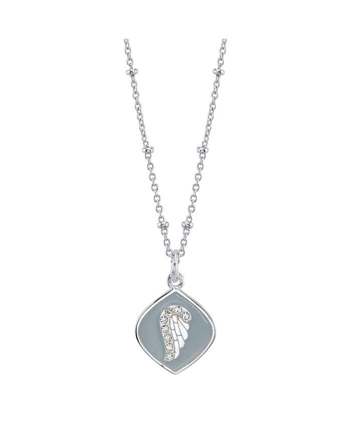 Unwritten - Cubic Zirconia Wing Enamel Pendant Silver Plated Necklace