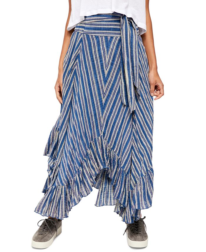 Free People - Giselle Cotton Striped Ruffled Skirt