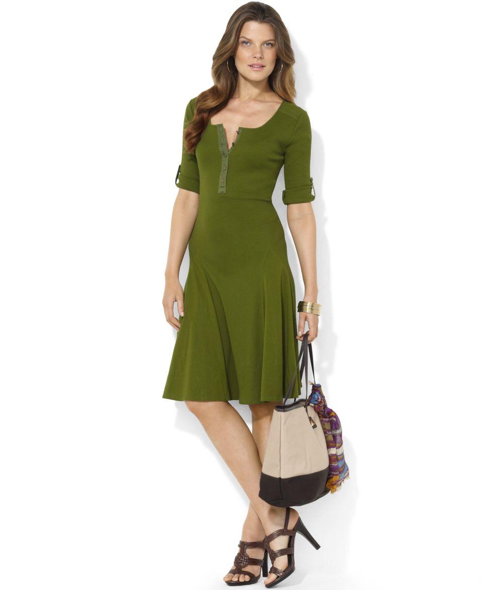 Lauren Ralph Lauren Petite Dress, Three Quarter Sleeve Henley A Line   Dresses   Women