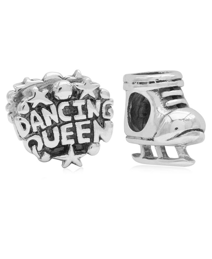 Rhona Sutton - Children's Dancing Queen Skate Bead Charms - Set of 2 in Sterling Silver