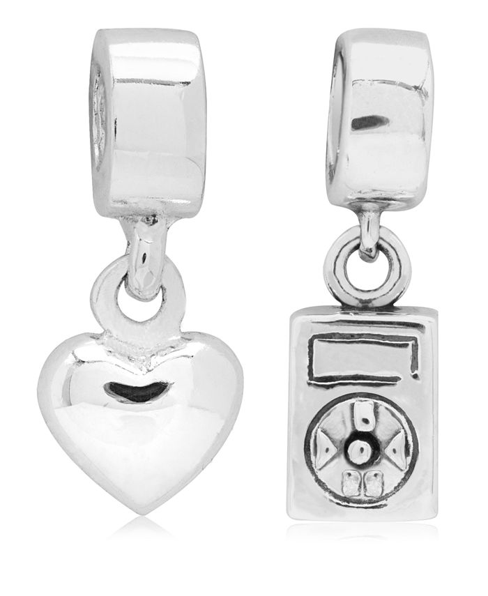 Rhona Sutton - Children's Music Love Drop Charms - Set of 2 in Sterling Silver