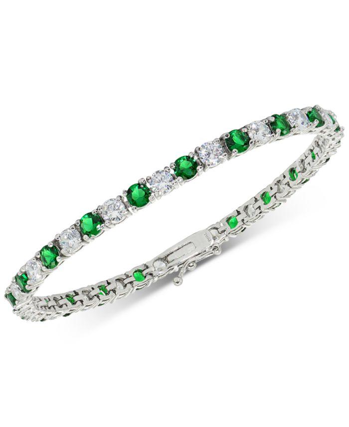 Macy's Cubic Zirconia Green Tennis Bracelet in Sterling Silver & Reviews - Bracelets - Jewelry & Watches - Macy's