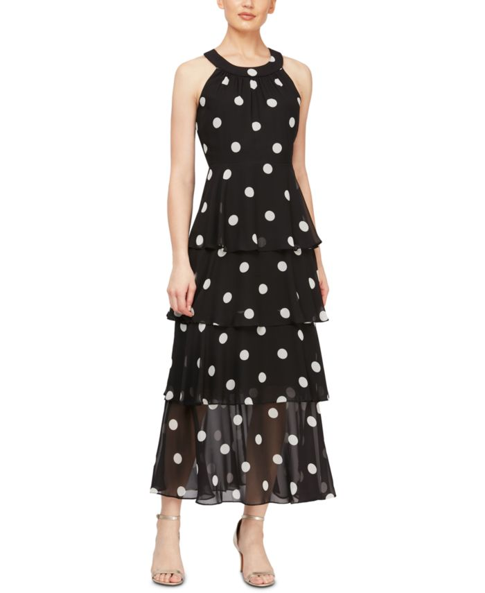 SL Fashions Tiered Dot-Print Maxi Dress & Reviews - Dresses - Women - Macy's