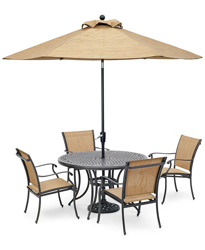 """Furniture - Beachmont II Outdoor 5-Pc. Dining Set (48"""" Round Table and 4 Dining Chairs)"""