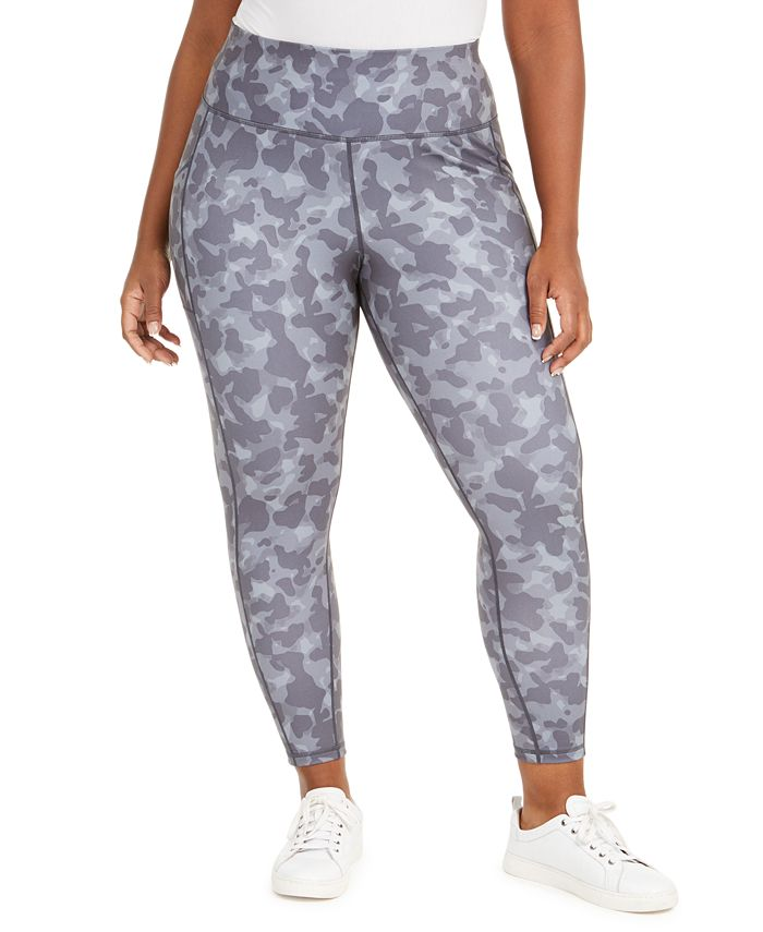 Ideology - Plus Size Camo-Print Side-Pocket 7/8 Leggings