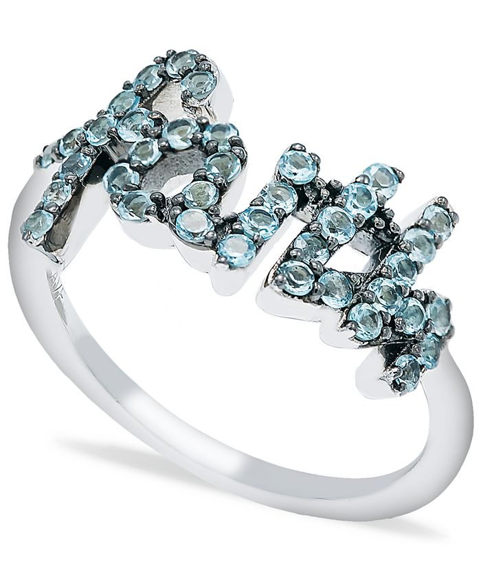 Macy's - Blue Topaz (1 ct. t.w.) 'Faith' Ring in Sterling Silver