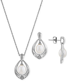 """2-Pc. Set Cultured Freshwater Pearl (7 & 8mm) & Diamond (1/20 ct. t.w.) 18"""" Pendant Necklace & Matching Drop Earrings in Sterling Silver"""