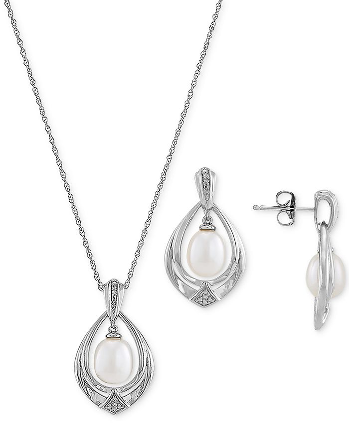 Macy's - 2-Pc. Set Cultured Freshwater Pearl (7 & 8mm) & Diamond (1/20 ct. t.w.) Pendant Necklace & Matching Drop Earrings in Sterling Silver