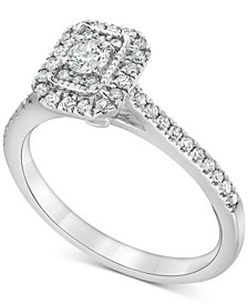 Diamond Square Halo Engagement Ring (1/2 ct. t.w.) in 14k White Gold